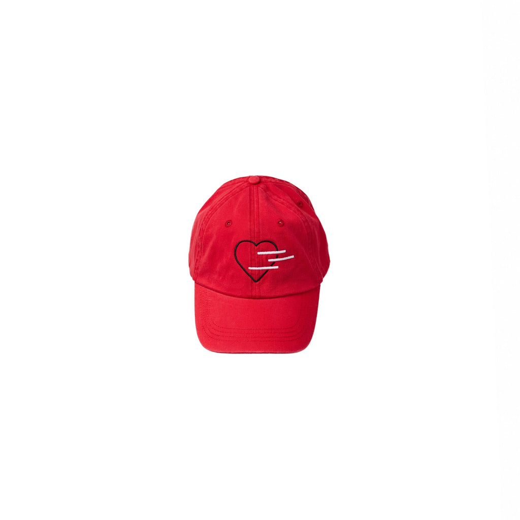 Red hat with the Line of Vision brand logo on the front and a heart. 3 Lines.