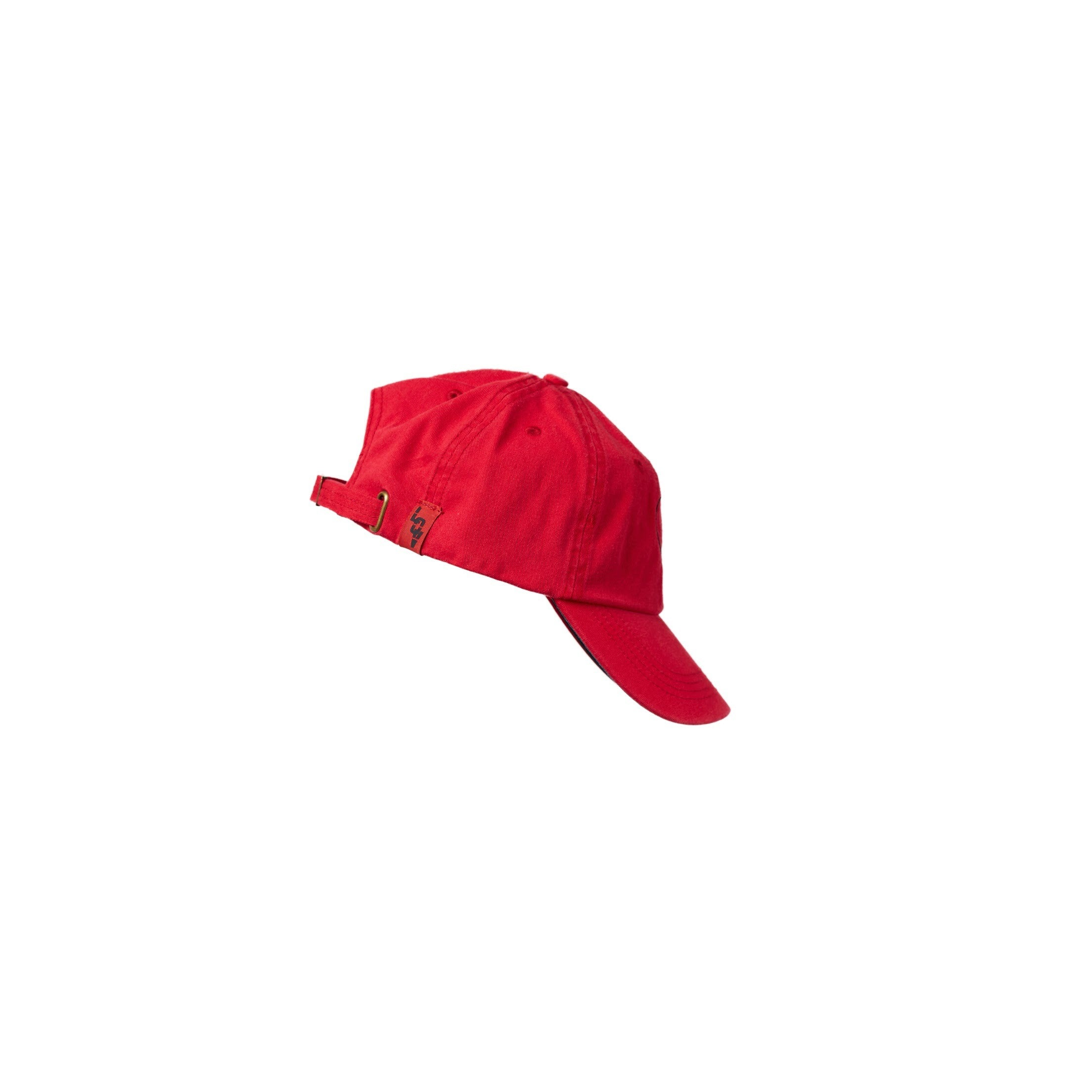 Side view of a red hat