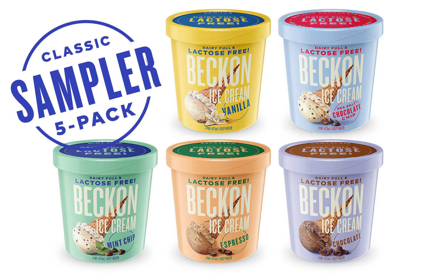 Beckon Ice Cream. Lactose Free Ice Cream. Real Ice Cream. Shop Pints. Classic Sampler Pack. Boston, Massachusetts.