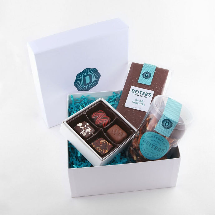 gift box with Deiter's bar, 5-pack of turtles and 4-piece truffles