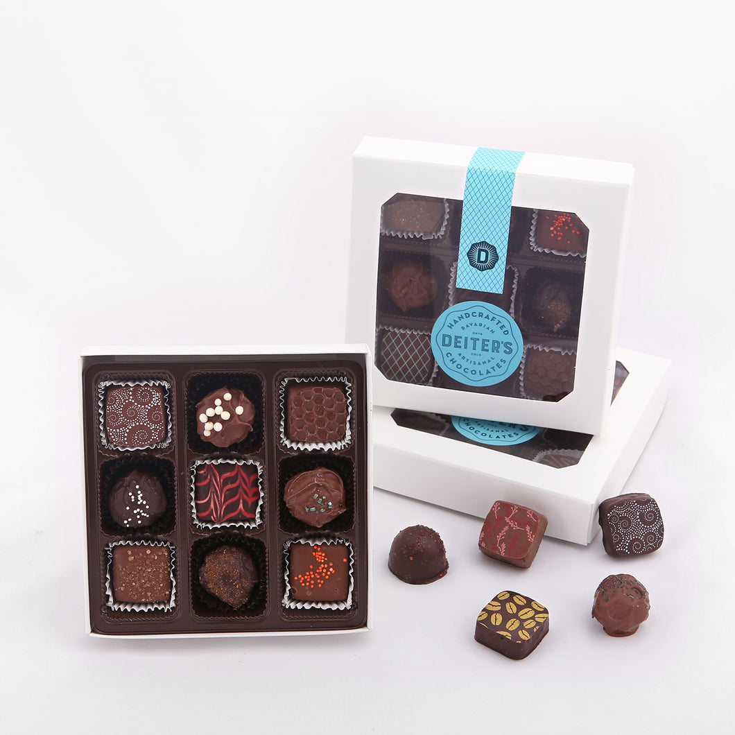 9-piece box of mixed truffles
