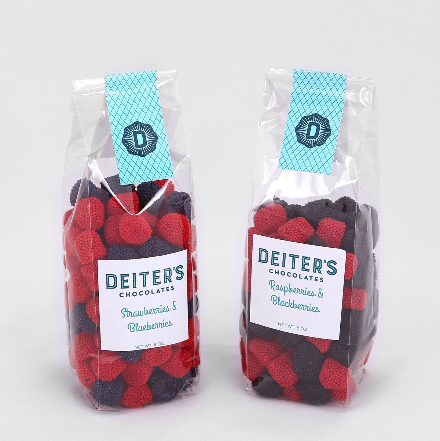 bags of strawberry and blueberry fruit chews, and raspberry and blackberry fruit chews.