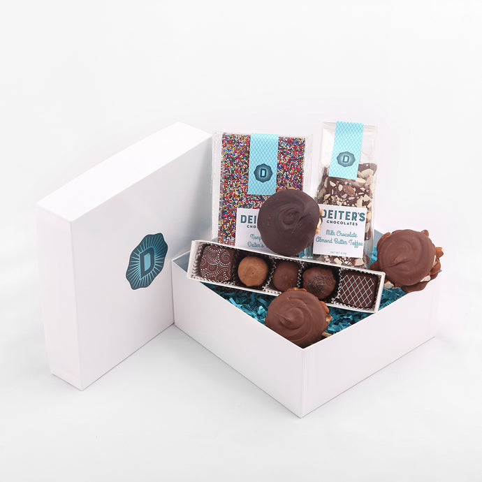 gift box of nonpareil bar, almond butter toffee, pecan turtles and 5-piece truffles