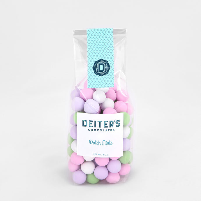 bag of pastel-colored chocolate-covered mints