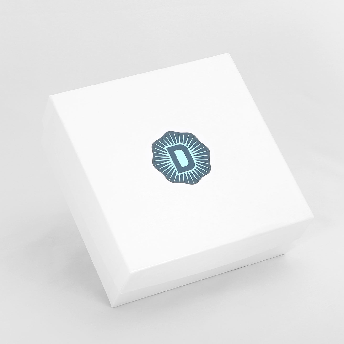 White gift box with Deiter's Chocolates logo on the lid