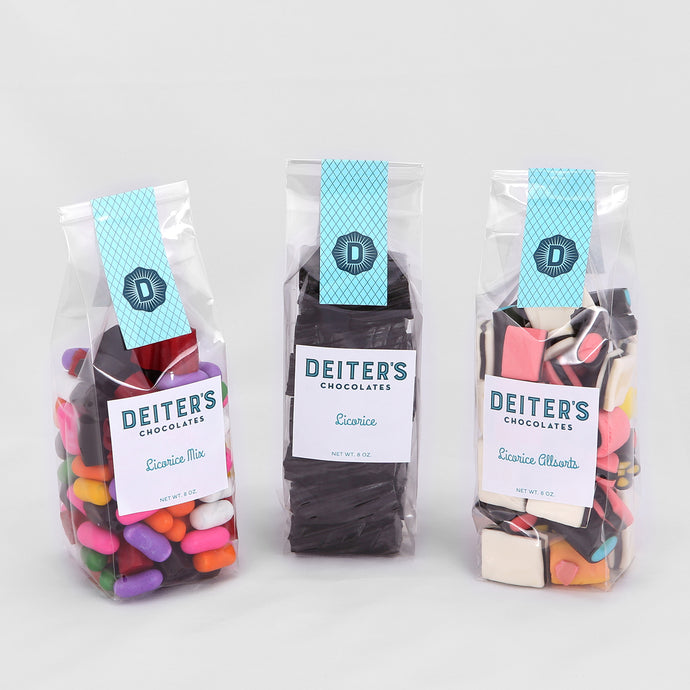 three bags of licorice: a mix, black licorice and licorice all sorts