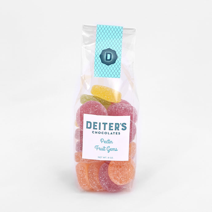 bag of colorful pectin fruit gems with a sweet, crunchy coating