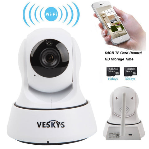 VESKYS Wireless WiFi IP Camera  -  US PLUG  WHITE - My Sweet Little Boutique