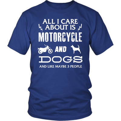 All I Care ABout Is Motorcycle And Dog Tshirt W - My Sweet Little Boutique