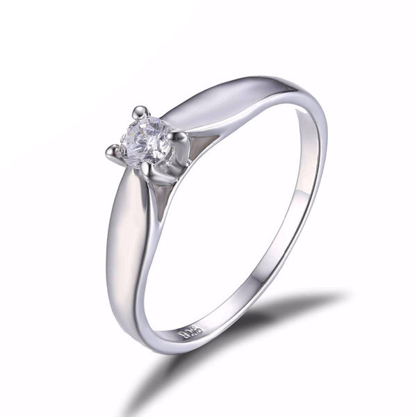 Sophisticated & Elegant 925 Sterling Silver 0.2ct Cubic Zirconia Solitaire Engagement Ring for Women - AskyJewelry.com