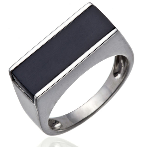 Classic Shaped Black Agate Sterling Silver Ring for Men - AskyJewelry.com