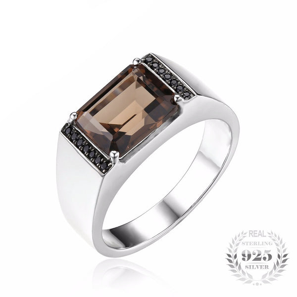 Trendy Emerald Cut 4ct Natural Smoky Quartz Black Spinel Ring for Men - AskyJewelry.com