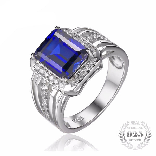 King Luxury 4.6ct Blue Sapphire Ring for Men - AskyJewelry.com