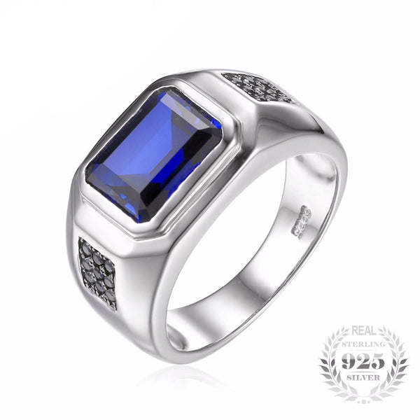 Luxury Created Blue Sapphire Ring for Men - AskyJewelry.com