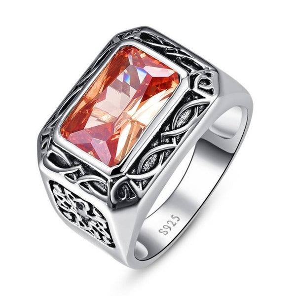 Vintage Morganite Antique Square Ring for Men - AskyJewelry.com