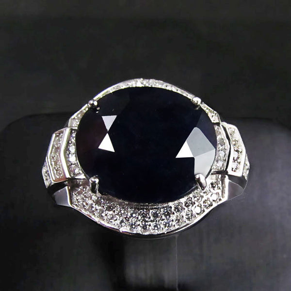 Rare Black Sapphire Gem in Sterling Silver Ring for Men - AskyJewelry.com