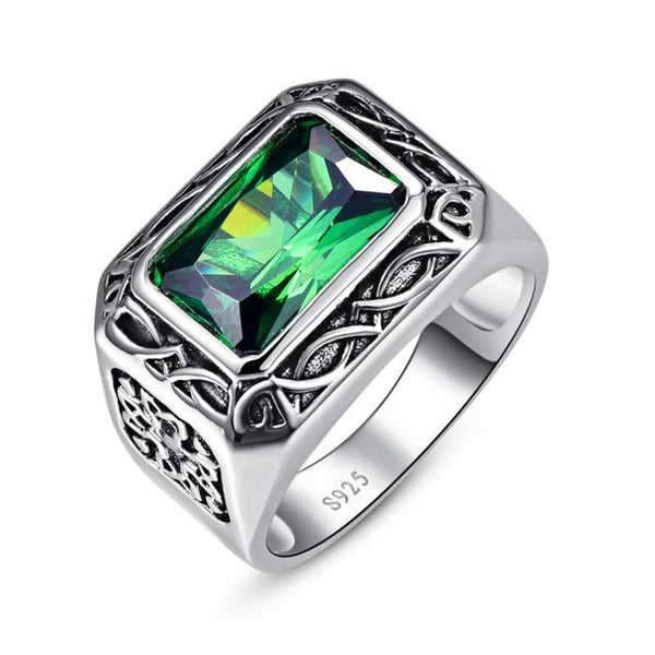 Russian Emerald Ring For Men - AskyJewelry.com