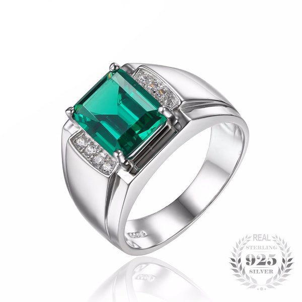 Luxury 2.7ct Created Emerald Sterling Silver Ring for Men - AskyJewelry.com