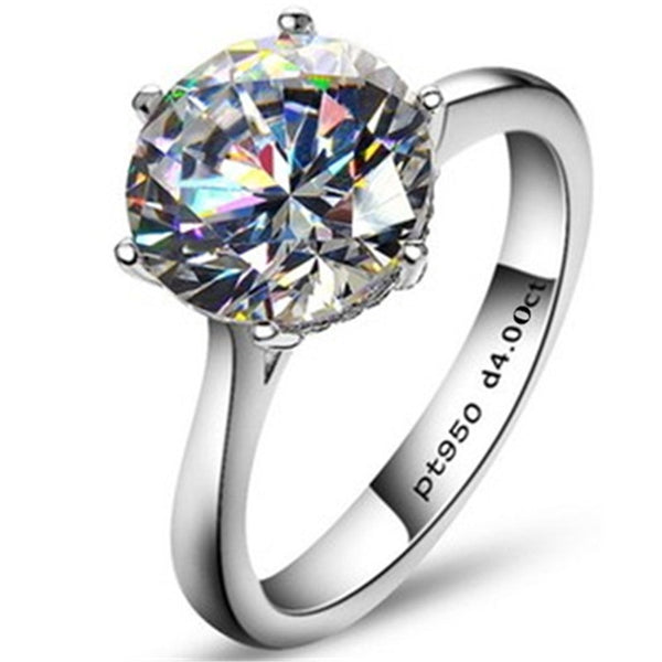 Luxury Semi-Precious Classic Solitaire 6 Claws 4 Carat Engagement Ring - AskyJewelry.com