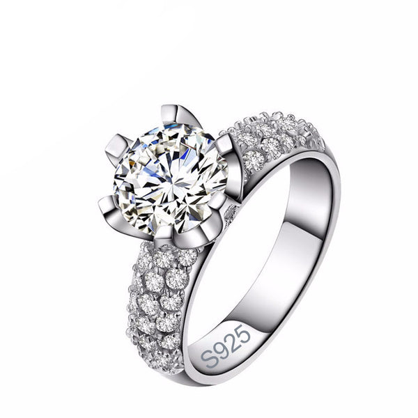 Modern 925 Sterling Silver Ring Engagement Ring for Women - AskyJewelry.com