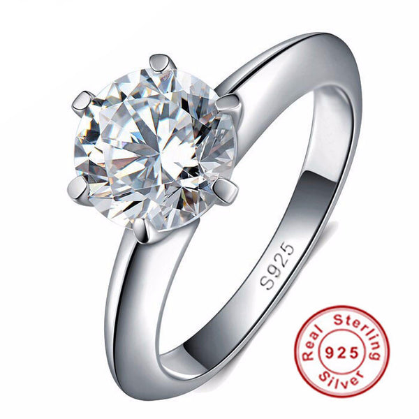Silver Ring 1 Carat Sona CZ Diamant Engagement Ring for Women - AskyJewelry.com