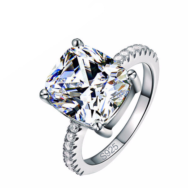 Cushion Cut Sterling Silver Ring Engagement Ring for Women - AskyJewelry.com
