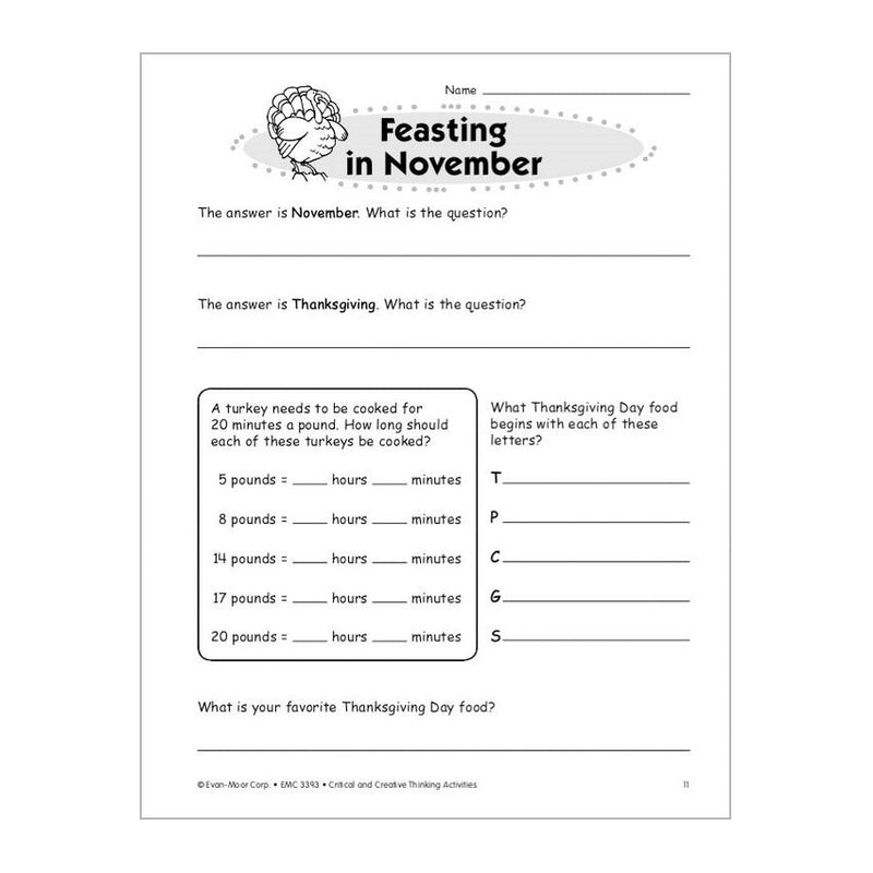 Critical And Creative Thinking Activities - Grade 3 - Timberdoodle Co