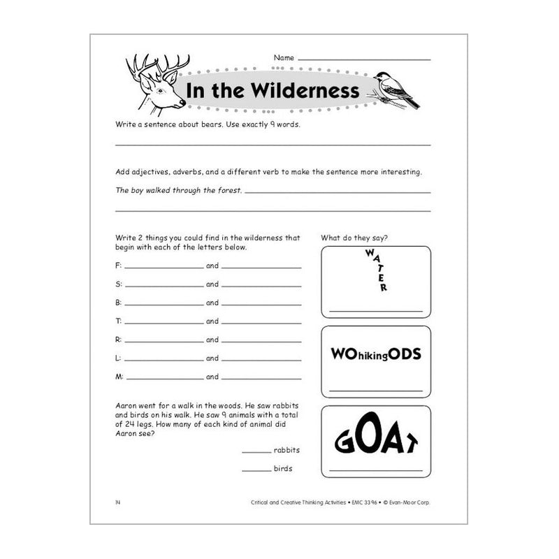 Sudoku  x    Free Critical Thinking Worksheet for  rd Grade     Wieser Educational