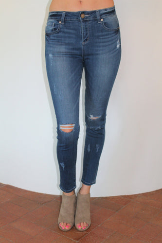 Just Right Mid-High Rise Skinny Jeans (Dark Wash)