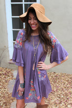 Bijou Floral Embroidered Bell Sleeve Dress