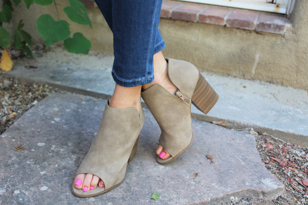 Audrey Cutout Booties (Light Taupe)