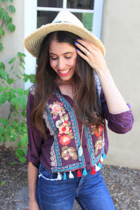 Tahlia Embroidered Tassel Top