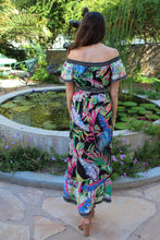 Najwa Off The Shoulder Mix Print Maxi Dress