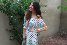 Emily Floral & Polka Dot Print Off The Shoulder Maxi Dress