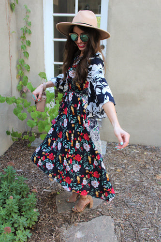 Anabele Floral Print Bell Sleeve Maxi Dress