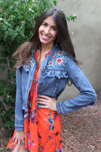Isabelle Denim Jacket With Floral Embrodiery