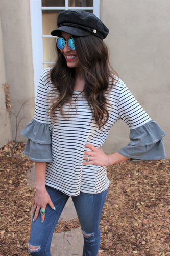Maddie Striped Ruffle Sleeve Top