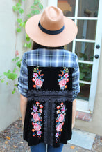 Amy Plaid Velvet Embroidered Top
