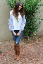 Penelope Ruffled Sleeves & Embroidered Roses Sweater