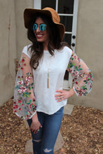 Marisol Floral Embroiderd Contrast Sleeve Top