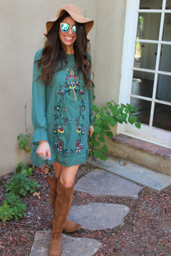 Amelia Long Sleeve A Line Mini Dress with Floral Embroidery Details