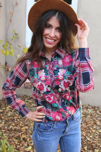 Amelia Plaid Embroidered Top
