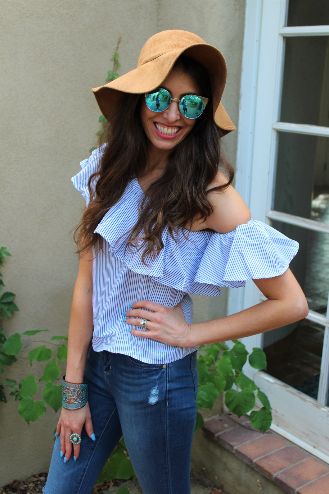 Madison Tier Ruffle One Shoulder Top