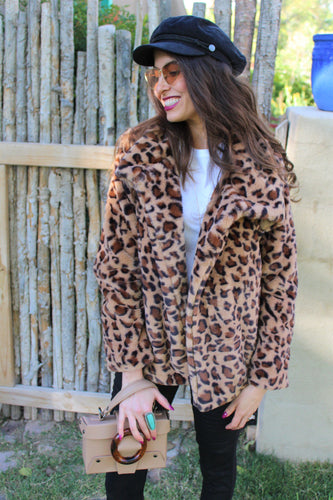 London Leopard Print Faux Fur Coat