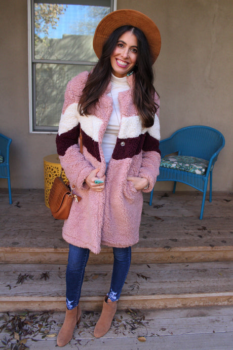Khloe Colorblock Teddy Coat