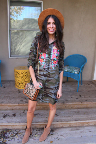 Kaia Embroidered Camo Dress