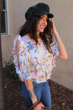 Brielle Floral Print Cutout Sleeve Top