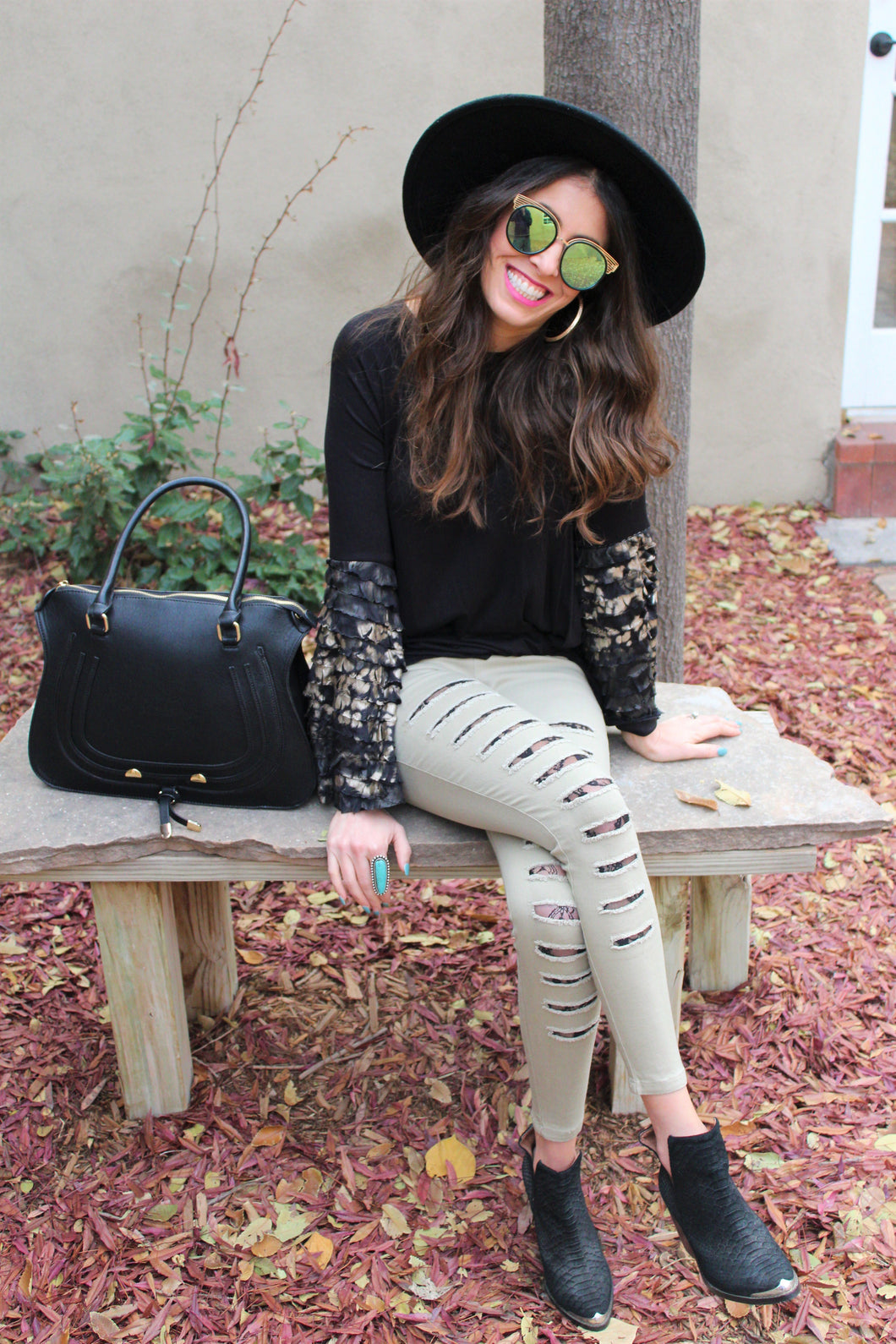 Frida Lace Inset Distressed Leggings