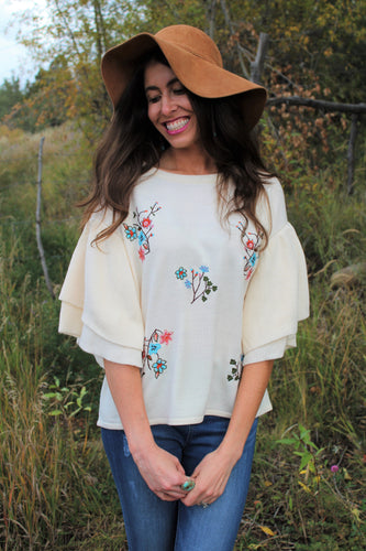 Lily Floral Embroidered Ruffle Sleeve Sweater