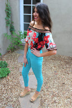 Luciana Floral Print Off The Shoulder Crop Top